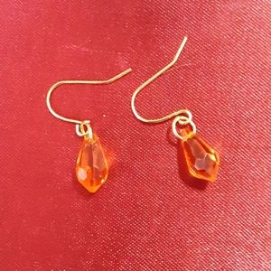 Orange and gold crystal earrings
